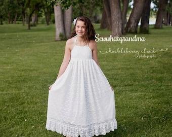 12T-14T, Junior Bridesmaids, Halter Off White Flower Girl, Bohemian Girl Dress, Boho Girl Lace Dress, Maxi Halter Lace Dress, Sewwhatgrandma