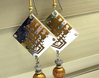 Recycled Silver Gold CIRCUIT BOARD STEAMPUNK Earrings ,Vintage Brass Beads,Vintage Silver Plated Beads