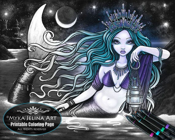 Mermaid in Greyscale from Etsy