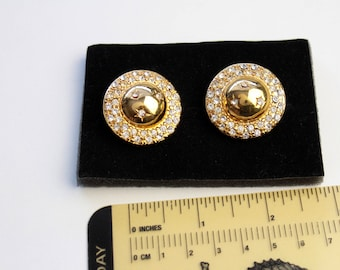 Vintage Celine  Iconic   Goldtone Earrings clip on with crystal   rhinestones, Couture Jewelry Earrings  #1550