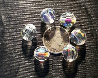 Czech Vintage Glass Beads Crystal AB 10mm - 6 Pieces