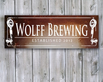 Metal Sign on Rusted Metal, Brewery Sign - MADE TO ORDER