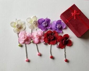 Flower earrings, Korean style earrings, Japanese style earrings, Asian style earrings, Gorgeous earrings, Sakura earrings.