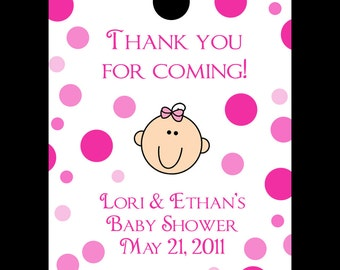 24 Personalized Baby Shower Favor Tags -  Pink Polka Dot