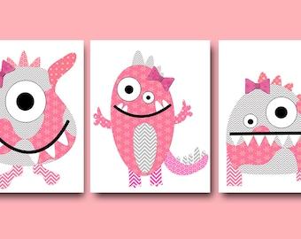 Monster Nursery Art for Children Printable Digital Print Baby Girl Nursery Digital Download Print set of 3 8x10 11X14 INSTANT DOWNLOAD rose