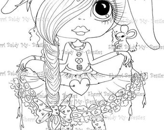 INSTANT DOWNLOAD Digital Digi Stamps Big Eye Big Head Dolls Digi  Easter Mouse Bestie By Sherri Baldy
