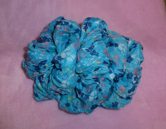 Becky Bows ~  Barrette scarf Hand crafted oversized  BIG hair bow Women or Girls blue flowers