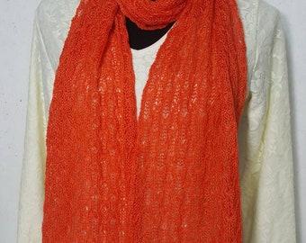 Alpaca Scarf, Handmade Alpaca Scarf, Suri Alpaca Scarf, Knit Lace Scarf, Homegrown Suri Alpaca, Scarf, Hand Dyed Orange