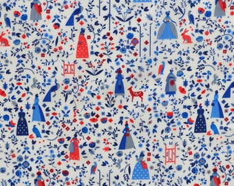Liberty fabric Tana Lotta D- 9''x26'' Fat Eighth -Red/blue- 2015 Autumn/Winter Collection