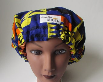 African Print Satin Lined Bonnet| African Print| Satin Lined Bonnet| Charmuese Satin| Kente Cloth| Hair Protection|Satin bonnet|sleep cap