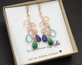 Mothers Day Gift Family Tree earrings Personalized Custom birthstone earrings mom gift idea Mom grandmother Grandma Birthstone jewelry gift