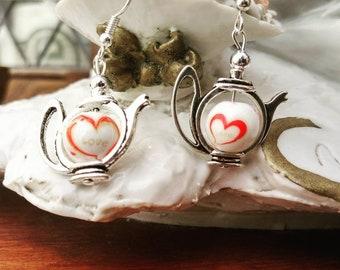 Teapot Earrings - Love Heart