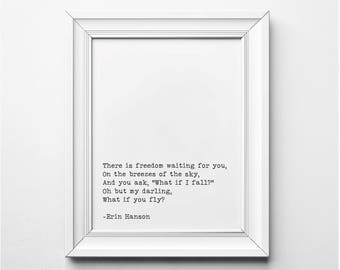 Erin Hanson Literary Poem Print, What if I Fall, Oh But My Darling, What if you Fly Literary Quote Print, Literary Art, Printable Poem