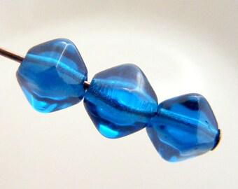 Czech 6mm Bicone Pressed Glass Beads Capri Blue (25pk) SI-6BC-CAP