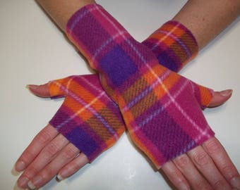 Fleece Fingerless Gloves - Orange, Pink and Purple Plaid Print