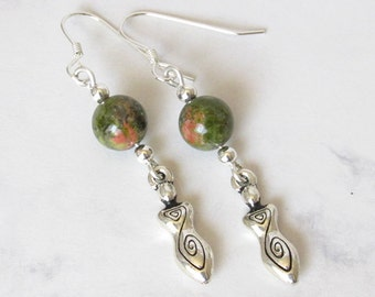 Spirit Goddess Unakite Earrings, Sterling Silver Beads, Unakite Stone, Sterling Silver Earwires - Great Goddess, Metaphysical, Spiritual