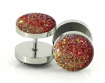 Golden Bronze Ombre Sparkle Fake Plugs  - 12mm,14mm - 18g