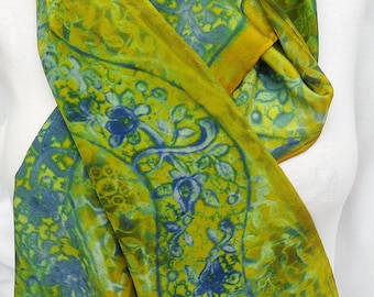 silk scarf long crepe Spring Paisley hand painted chartreuse blue wearable art women navy grass green morgansilk