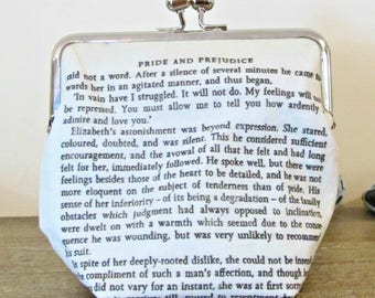Jane Austen Gift Clutch Purse - Quote Pride and Prejudice Bookworm Gift - Bridal Wedding Mr Darcy Bag Bookish Literary - Ardently I Admire