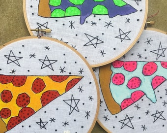 Space Pizza - hand drawn, painted and embroidered art wall hanging