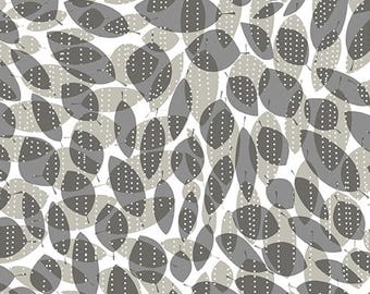 LAST PIECE 1/2 yd *** Modern Leaves Geometric Fabric - 100% Quilting Cotton Fabric - Gray/Black/White/Beige [[by the half yard]]