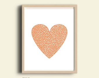 "Printable heart print, peach heart art, illustration heart print, printable art, nursery art, love sign, modern minimalist wall art, 8""X10"""