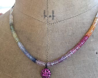 Pink Sapphire Pave Disc Necklace Boho Luxe Jewelry Layering Necklace