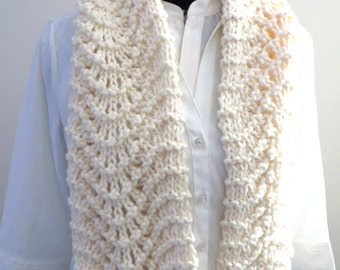 Lacy Knit Scarf, Aran Acrylic, Handknitted Scarf, Womens Scarf,  Old Shale, Feather and Fan Cream Scarf