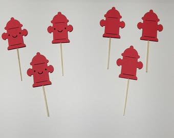 Fire Hydrant Cupcake Toppers