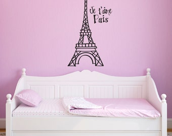 Eiffel Tower Wall Decal - Je t'aime Paris Decal - Hand drawn style - Eiffel Tower Wall Sticker - Large