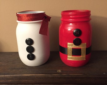 Santa Mason Jars / Christmas Decor / Christmas mason jars