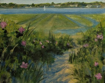 "Beach Roses Marsh Ocean Sailboat Sea Original signed Acrylic Painting square 6""x 6""x 1.5"""