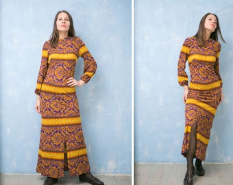 VTg 70s long psychedelic abstract  print dress/ long sleeves fitted  purple yellow paisley floral  boho hippie  dress /S