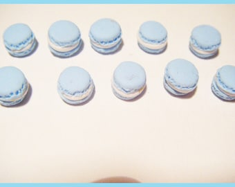 10 miniature macaroons Fimo polymer clay for jar - pastel blue