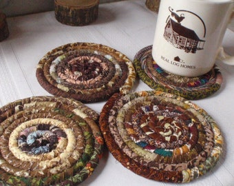 Brown Bohemian Coiled Coasters - Set of 4 - Handmade by Me, Absorbent Coasters