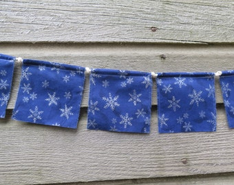 Small Prayer Flags, Playroom Decor, Fabric Bunting Banner, Upcycled, Wall Decor, Photo Prop, Holiday Decor, Snowflakes, Blue and Silver