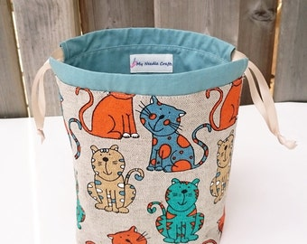 Cat Print Knitting Project Bag in Linen, two at a time Sock Knitting Bag, Knitting Tote, Knitting Bag - Small Socksack in Linen