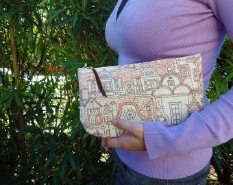 Fabric clutch,fabric pouch,quilted clutch,canvas clutch,canvas pouch,canvas bag,brown clutch,brown bag,brown bag canvas,quilted bag