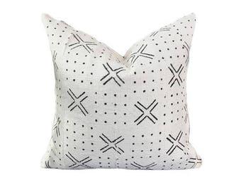 tribal ecru Bogolan reversible pillow cover