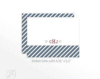 Monogram Note Cards, Personalized Stationery Folded Note Cards, Monogrammed Stationery Set, Thank You Cards with Initials, Stationary Set