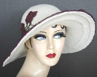 Cream Cotton Crochet Brimmed Hat On Sale