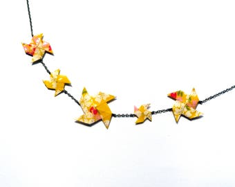 Necklace Origami Pinwheels Yellow