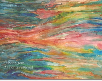 Watercolor Abstract Ocean Sea Ribbons Waves of Color