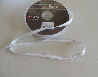 White grosgrain Ribbon stitched gray saddle stitch