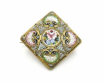 Antique Millefiori Brooch, Micro Mosaic Flower Ornament Golden Brass Pin, Small Rectangular Brooch, Handcrafted 1900 Italian Costume Jewelry