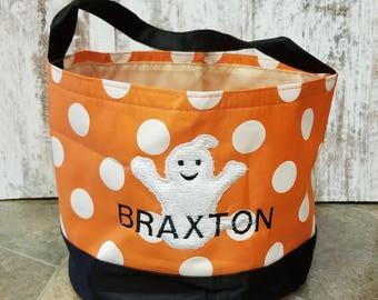 Halloween bucket- Monogrammed Halloween Bucket - Trick or treat pail - Halloween basket -1st Halloween - Kids Collapsible Halloween bucket