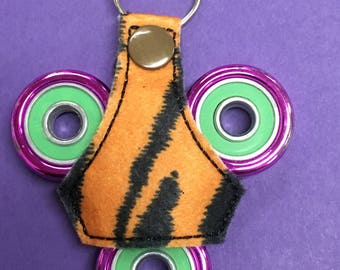 Tiger striped Fidget Spinner Toy Keychain Fob Accessory, Gifts under 5, white elephant gift, christmas gift, stocking stuffer, children toy