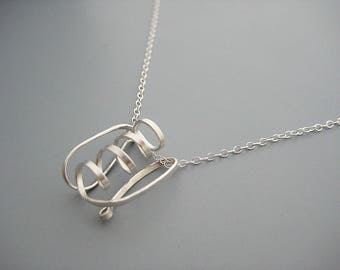 Biology Necklace - minimalist protein structure on delicate sterling silver chain, scientist jewelry, science teacher gift