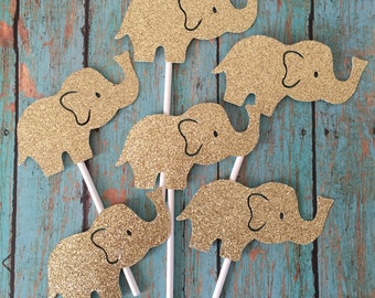 Elephant Theme Cupcake Topper, Elephant Cupcakes, Baby Shower Cupcake Toppers, Baby Elephant Cupcakes, Gold Cupcake Toppers