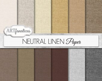 "Linen digital papers, ""NEUTRAL LINEN"" natural color linen texture paper for scrapbooking, invitations, cards, home décor and more"